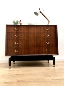 Rare Mid Century Vintage G Plan E Gomme Zebrano Teak Chest Of Drawers Tall Boy