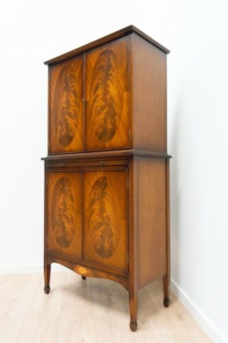 Vintage Burr Walnut Cocktail Cabinet Antique Deco Style Illuminated Cabinet 1479