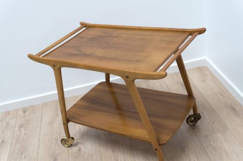 Superb Mid Century Danish Blonde Teak Drinks Trolley Serving Trolley