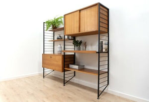 Superb Mid Century Vintage Teak Ladderax Shelving Desk Vinyl Wall Unit /1318