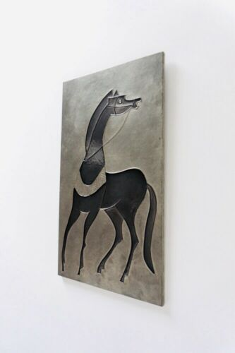 Original Mid Century Vintage Abstract Metallic Wall Art of a Horse 1960's /704