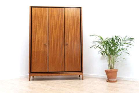 Superb Mid Century Vintage Teak Heals Double Gentlemans Wardrobe 1950's /447