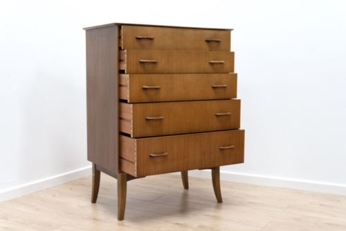 Superb Mid Century Vintage Walnut Wrighton Tall Boy Chest of 5 Drawers /139