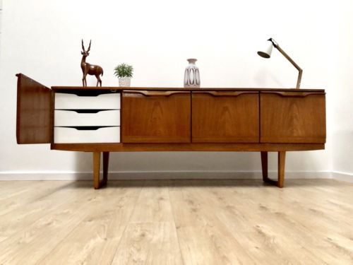 Superb Vintage Mid Century Teak Modernist Sideboard Drinks Cupboard Drawers