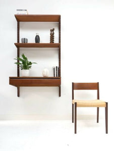 Mid Century Danish Vintage Teak Cado Wall Shelving Desk Unit & Pia Chair /651