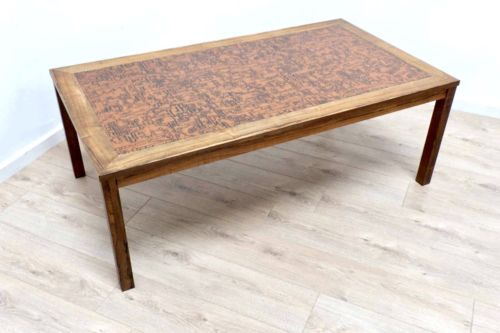 Mid Century Danish Vintage Rosewood Coffee Table With Decorative Copper Top /483