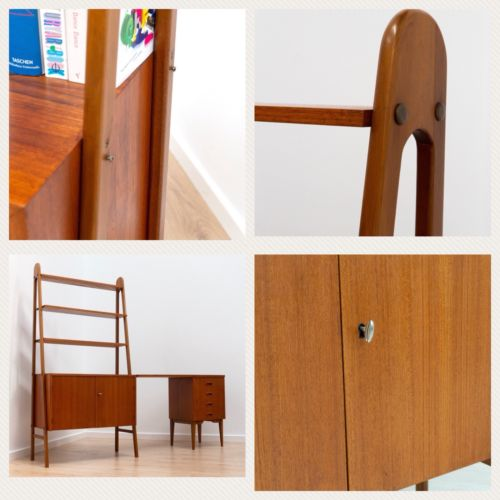Stunning Mid Century Swedish Teak Shelving Unit with Desk and Drawers