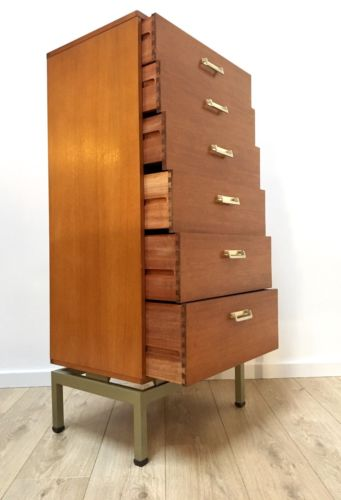 Rare Mid Century Teak Modernist G Plan E Gomme Tallboy Chest of Drawers