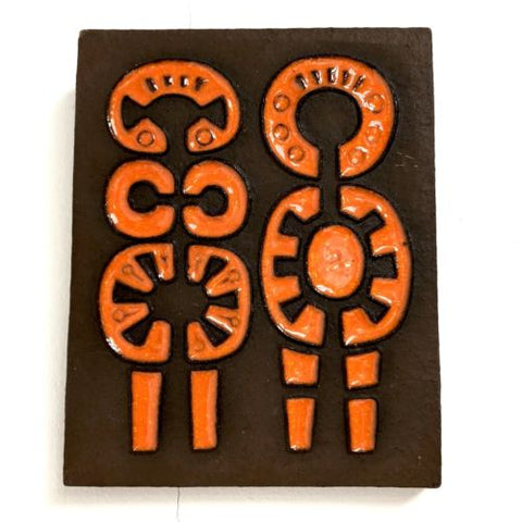 Rare Knabstrup Danish Stoneware Wall Plaque Abstract Of Male And Female Symbols