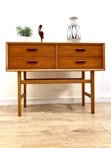 Mid Century Vintage Danish Blonde Teak Console Side Table Drawers 1960's
