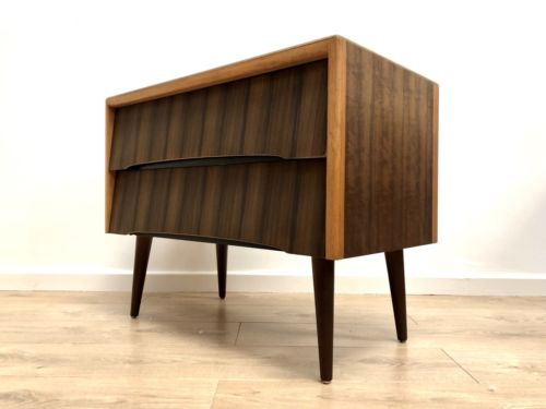 Rare Mid Century Vintage Modernist Walnut Chest Of Drawers 1950's 1960's