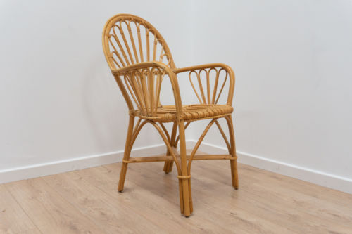 Stylish Mid Century Vintage Cane Wicker Armchair