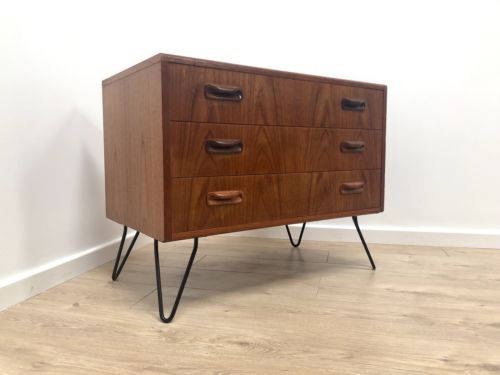Mid Century Vintage G Plan Fresco Teak Chest Of Drawers With Hairpin Legs
