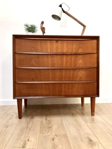 Stunning Mid Century Vintage Danish Teak Chest Of 4 Drawers 1960's