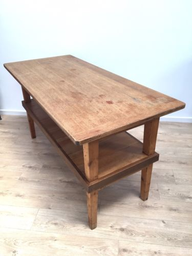 Vintage Solid Light Oak Industrial Kitchen Island Shop Fitting Bar Restaurant