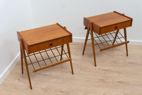 Rare Pair Mid Century Vintage Teak Metal Swedish Bedside Table Chest Of Drawers