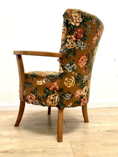 Vintage Mid Century Teak Occasional Armchair Lounge Bedroom Chair 1950's