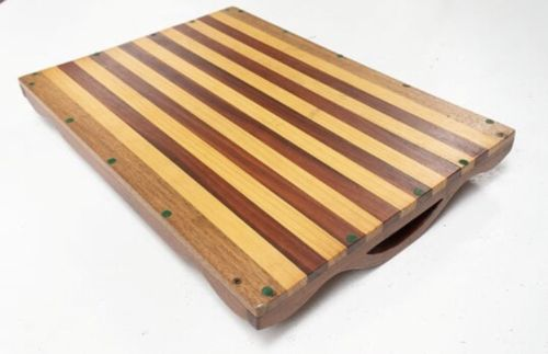 Mid Century Danish Two Tone Vintage Teak Breakfast Tea Tray 1960's