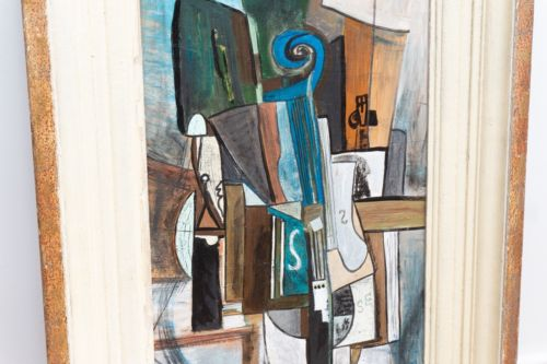Large Original French 20th Century Art School Framed Abstract Painting 1960's