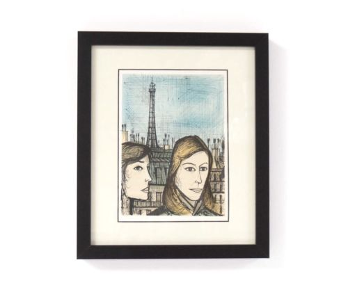 Mid Century Vintage Bernard Buffet Framed Colour Lithograph Eiffel Tower /418