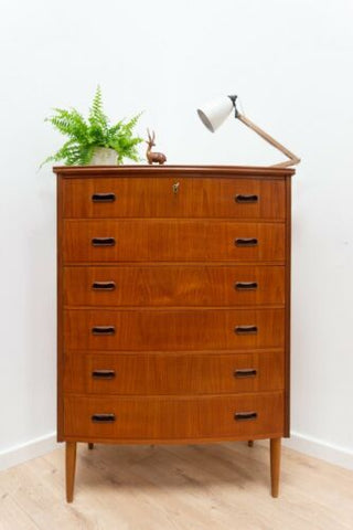 Mid Century Danish Vintage Teak Tallboy Chest Of Drawers 1950's /1353