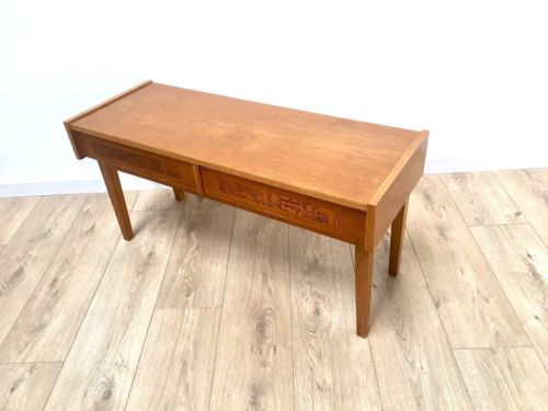 Mid Century Vintage Danish Teak Low Console Side Table TV Media Console Drawers
