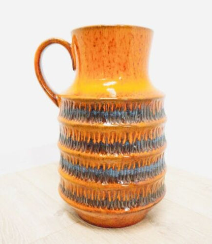 Midcentury Vintage West German Jasba Keramik Orange Pottery Vase Jug /1551