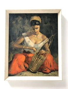 Mid Century Vintage Retro The Basket Maker By Van Cleef Framed Print 1960's /999