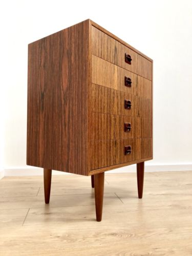Superb Mid Century Vintage Danish Zebrano Teak Chest Of 5 Drawers Tall Boy