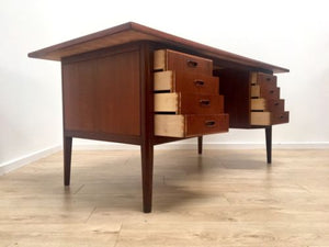 Rare Mid Century Danish Teak Executive Desk With Lockable Drawer