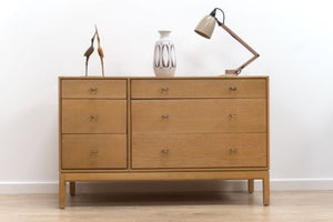 Mid Century Vintage Blonde Oak Chest Of Drawers By John & Sylvia Reid For Stag