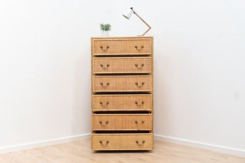 Mid Century Vintage French Rattan & Bamboo Tallboy Chest Of Drawers 1960's