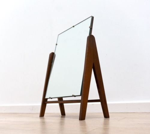 Mid Century Danish Vintage Teak Freestanding Dressing Table Mirror 1950's /337