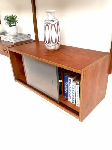 Mid Century Danish Teak PS Wall Modular Shelving Desk Unit Cado Heals