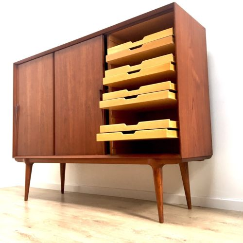 Rare Mid Century Vintage Danish Teak Sideboard Credenza by Omann Jun Model 15