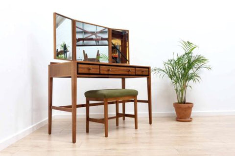 Stunning Mid Century Vintage Teak Heals Dressing Table With Mirror & Stool /453
