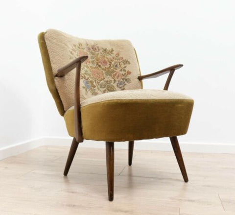 Beautiful Mid Century French Vintage Teak Cocktail Chair Armchair /656