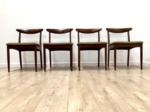Set Of 4 Mid Century Vintage Teak Greaves And Thomas Dining Chairs 1960's