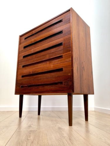 Superb Mid Century Vintage Danish Zebrano Teak Tallboy Chest Of 6 Drawers