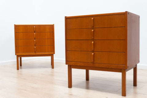 Pair Mid Century Vintage Teak Swedish Bodafores Chest of Drawers /111