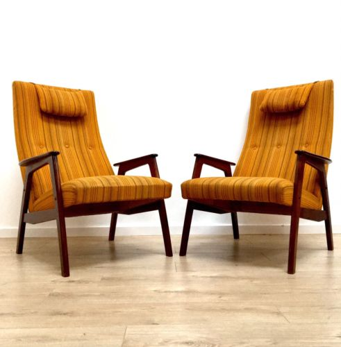Superb Pair Of Danish Vintage Rosewood Lounge Chairs Armchairs