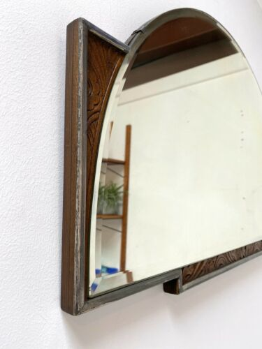 Rare Mid Century Vintage Art Deco Decorative Oak Mantel Wall Mirror 1950's /1037