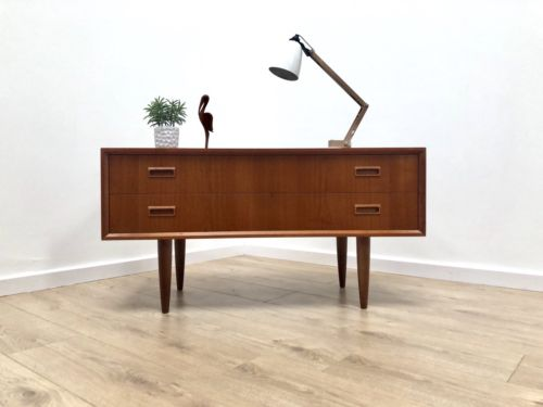 Mid Century Danish Vintage Teak Modernist Long And Low Sideboard Console Drawers