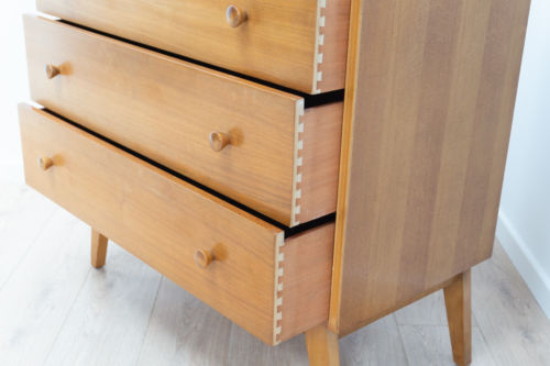 Mid Century Vintage Walnut Tallboy By Golden Key Furniture Chest Drawers 1950's