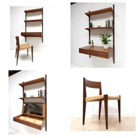 Mid Century Danish Vintage Teak Cado Wall Shelving Desk Pia Papercord Chair 981