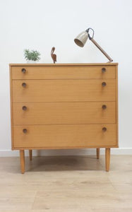 Mid Century Vintage Blonde Oak Chest Of 4 Drawers By Avalon 1960's