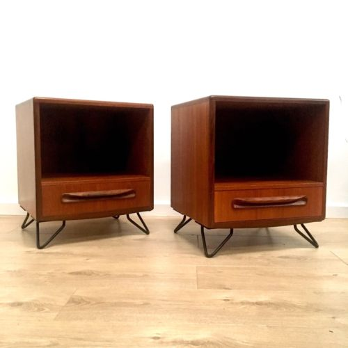 Mid Century Vintage G Plan Teak Bedside Cabinets Drawers On Black Hairpin Legs