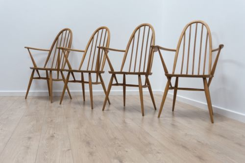 Superb Set Of 4 Vintage Ercol Blonde Windsor Quaker Carver Dining Chairs