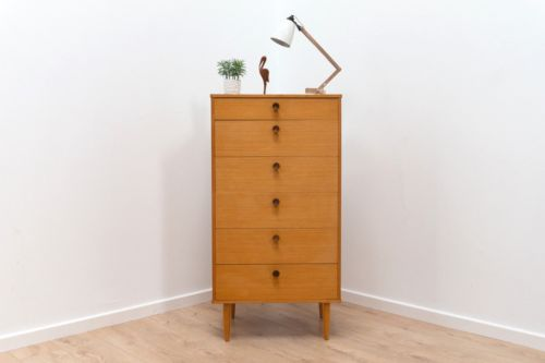Stunning Mid Century Vintage Avalon Light Oak Tallboy Chest Of 6 Drawers