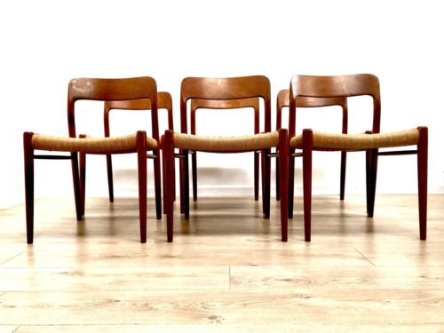 Vintage Danish Teak Niels Moller Set Of 6 Model 75 Papercord Dining Chairs